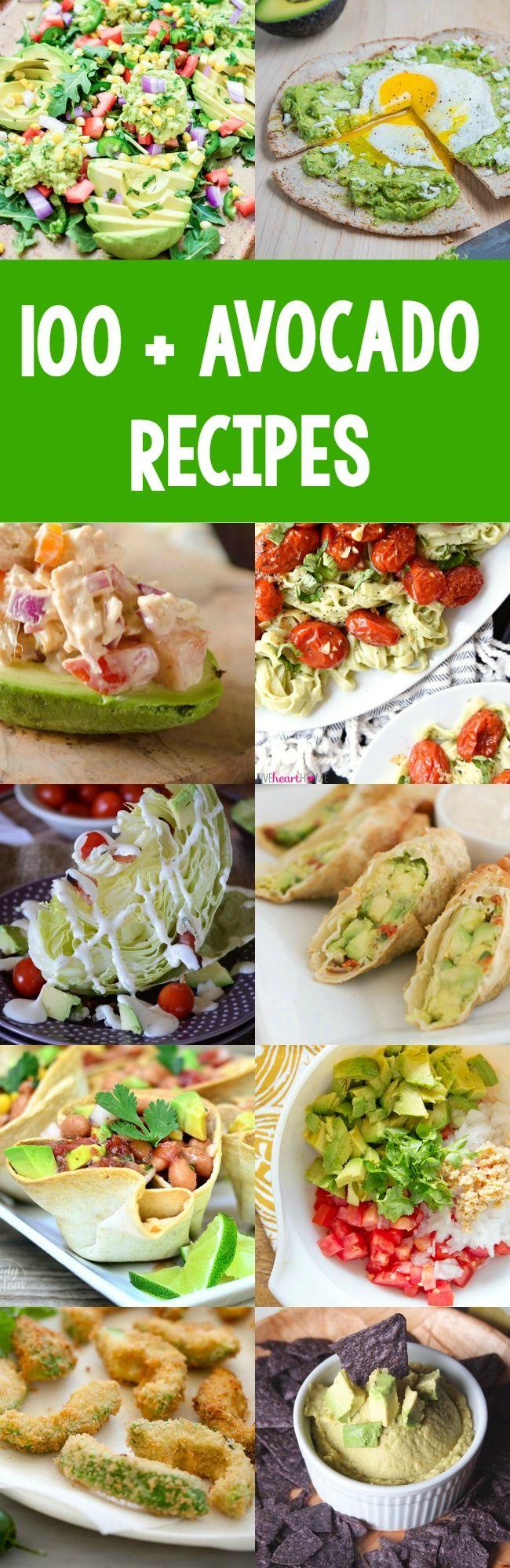 100 avocado recipes!  So many new recipes to try!