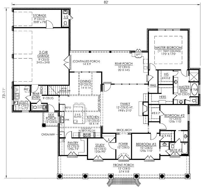 Southern Style 2674 Square Foot Home  1 Story  4 Bedroom and 2 3 Bath       I would move the master bedroom to the other side of the house. 17 Best images about House plans on Pinterest   3 car garage