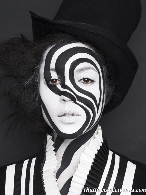 black and white makeup  Halloween Costumes 2013 - Black White And Red Halloween Makeup