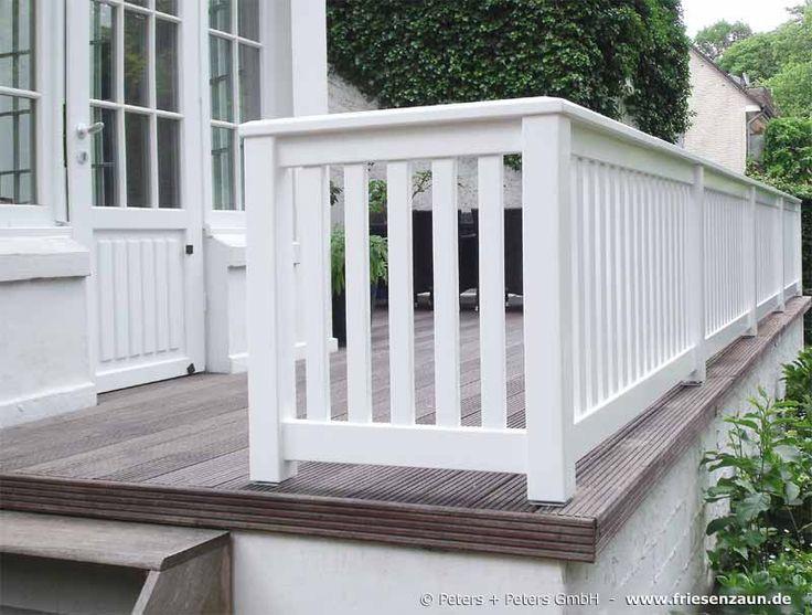 Geländer für Terrasse und Balkon - Hartholz weiß lackiert