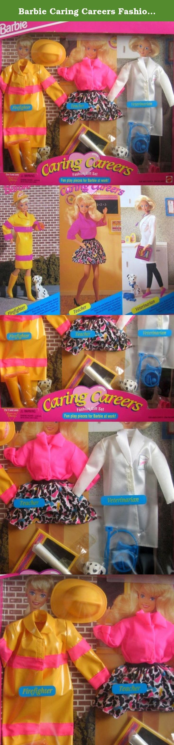 Barbie Caring Careers Fashion Gift Set - Firefighter, Vet & Teacher (1993). Caring Careers Fashion Gift Set, Fun Play Pieces for Barbie at Work! is a 1993 Mattel production set. These are Easy To Dress Fashions for Ages 4+ years. Included in the package are outfits for Barbie and/or her friends to be a Firefighter, a Teacher and a Veterinarian. Sets include: FIREFIGHTER: a yellow plastic Rain-type (vinyl) Coat with a pink stripe at the top & a pink stripe near the bottom; each long coat...