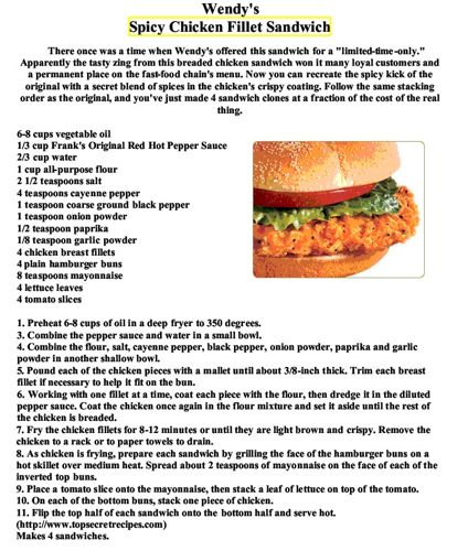 Wendys Spicy Chicken Recipe *so this was good as far as chicken sandwhiches go.. But it wasn't spicy at all.. I did leave out a tsp of cayenne because 4tsp seemed like a lot. With a little tweaking this could be a frequent meal*