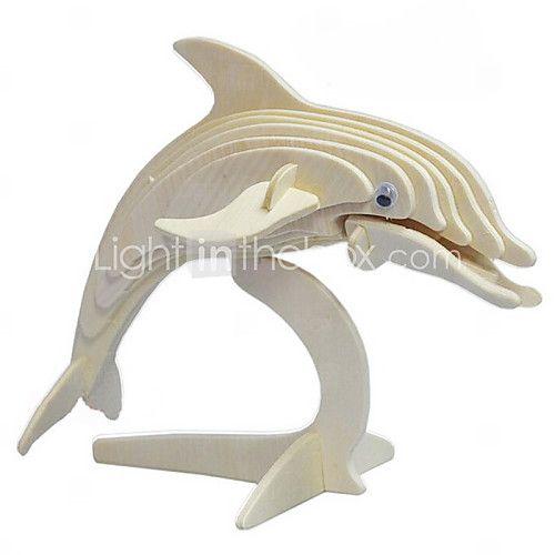 delfiner træ 3d puslespil DIY legetøj - USD $6.99