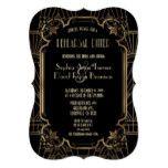 Glam Black Great Gatsby Art Deco Rehearsal Dinner Card