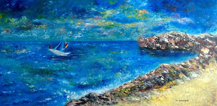 "Syrian Coast - Coast oil painting it is small oil painting for an original beach painting. it has high texture full of color  very nice painting gift    the specification of the view of oil beach painting(as a painting gift).  Size :24"" X 12""  Material: oil on canvas"