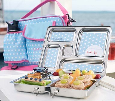 "Perfect for Catherine...who has inherited her dad's ""don't mix foods"" mentality.  Aqua Dot Planet Box Lunch Box #PotteryBarnKids"