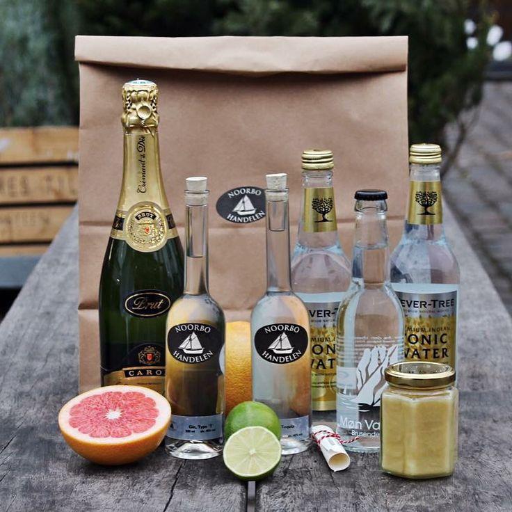 Noorbohandelens nytårs pakke med ingredienser og opskrifter til festlige nytårsdrinks