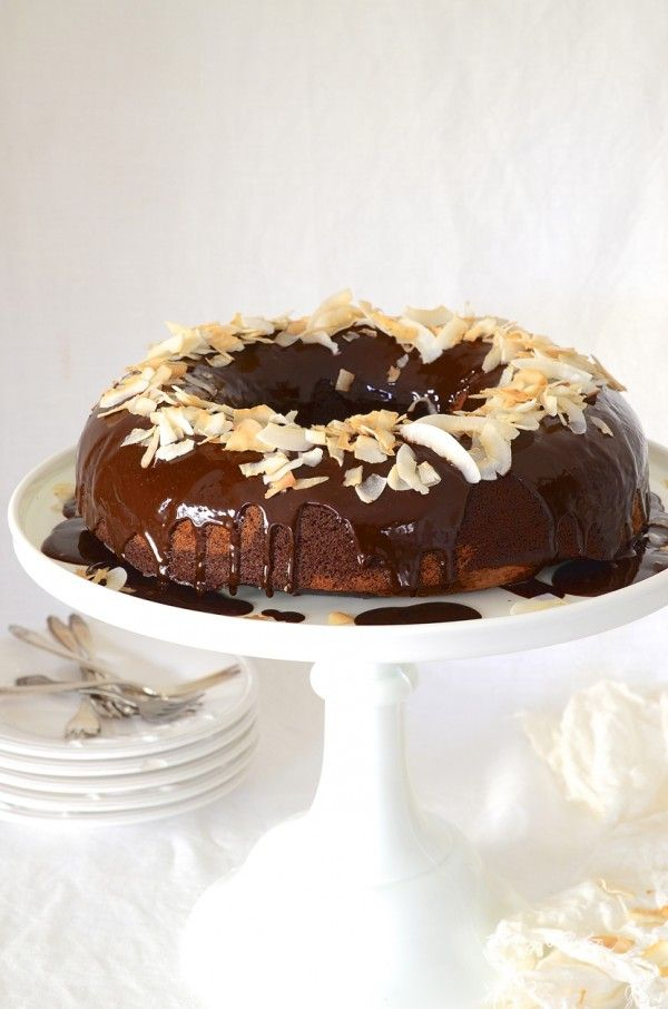 Marbled Chocolate Banana Bread Bundt Cake With Coconut Cream Chocolate Ganache And Toasted Coconut Shavings