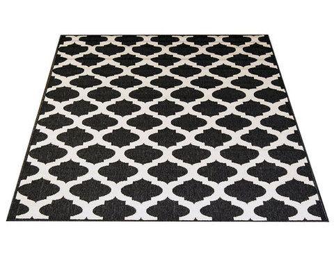 Palma-matto, musta. Etnistyylinen matto, marokkolaiskuviointi. Kovaa kulutusta kestävä matto, pehmeä pinta. Materiaali pölyämätöntä polypropyleeniä.