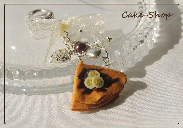 """Vrac, Bijoux de sac """"Crêpe Chocolat Banane"""" est une création orginale de Cake-shop---Bijoux-gourmands sur DaWanda"""