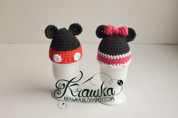 Krawka: Projekt jajo - myszka Miki i Mini / minnie and mickey - egg cozies pattern by Kamila Krawka Krawczyk in Polish and English.