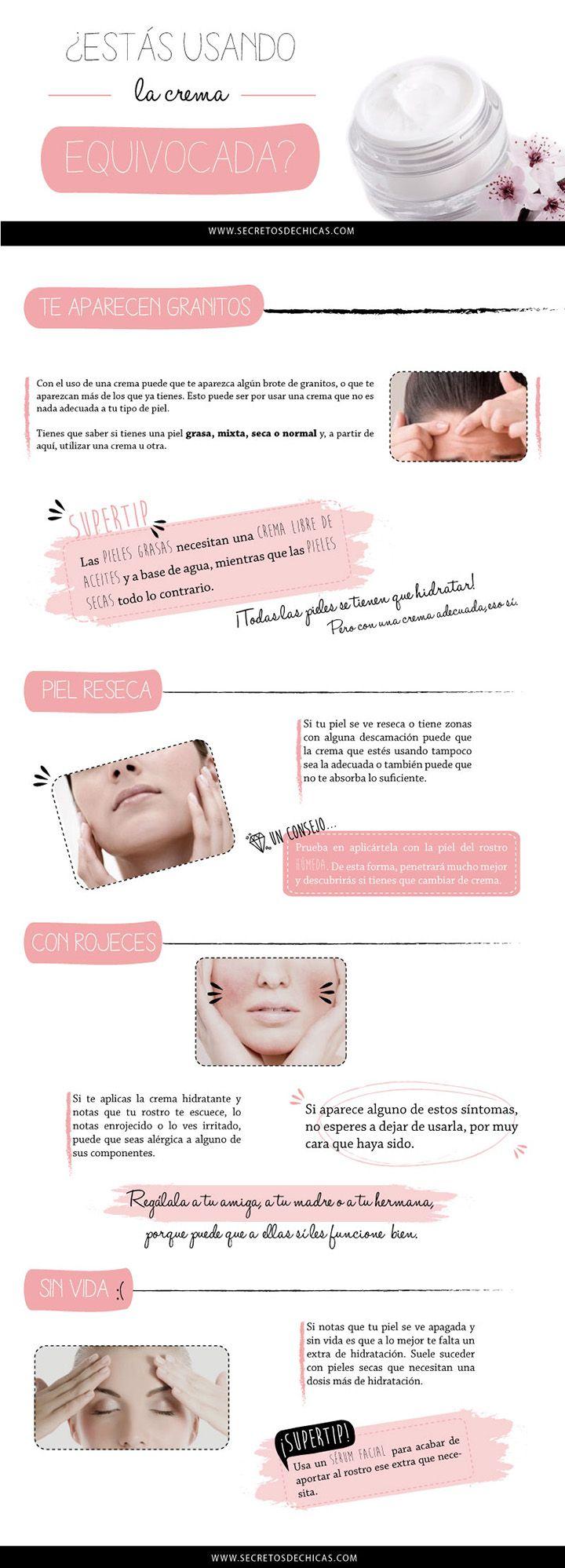 Cómo hidratar tu piel correctamente con cremas para la cara. #infografia #cremas #hidratar