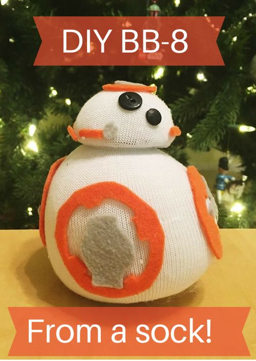 DIY BB-8 from a sock.  Perfect gift for star wars fans.  This is the droid you are looking for.  Perfect craft for kids.