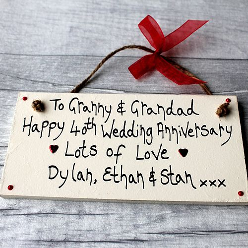 Traditional 45th Wedding Anniversary Gift: Personalised Cream 40th Wedding Anniversary Plaque In 2019