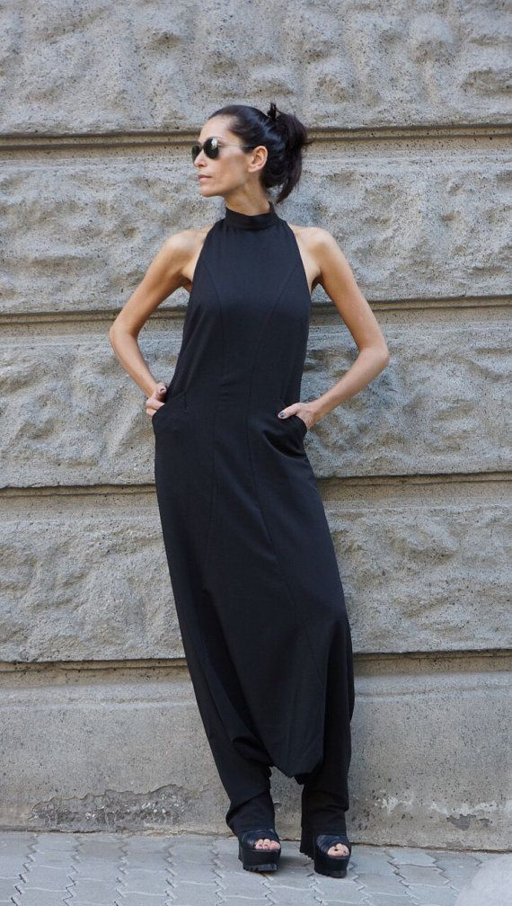 NEW Collection AW 2015 Sexy Black Polyviscose  Drop Crotch Jumpsuit / Party Extravagant Loose Jumpsuit  Extravagant Back by AAKASHA A19349