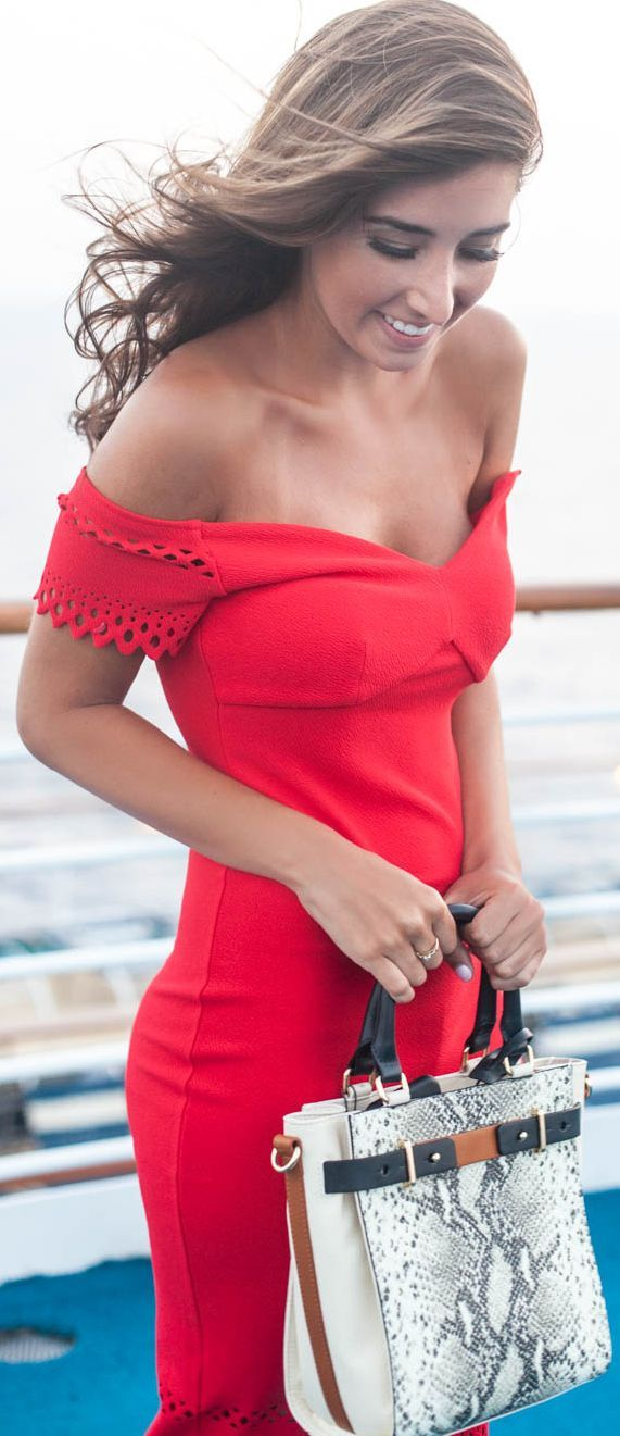 Red Off Shoulder Dress Feminine Style by The Darling Detail