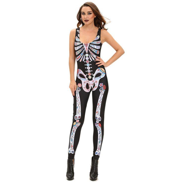 #D8855 Sugar Skull Adult Womens Halloween Catsuit Costume