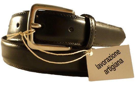 Black classic leather belt for men, Florentine leather