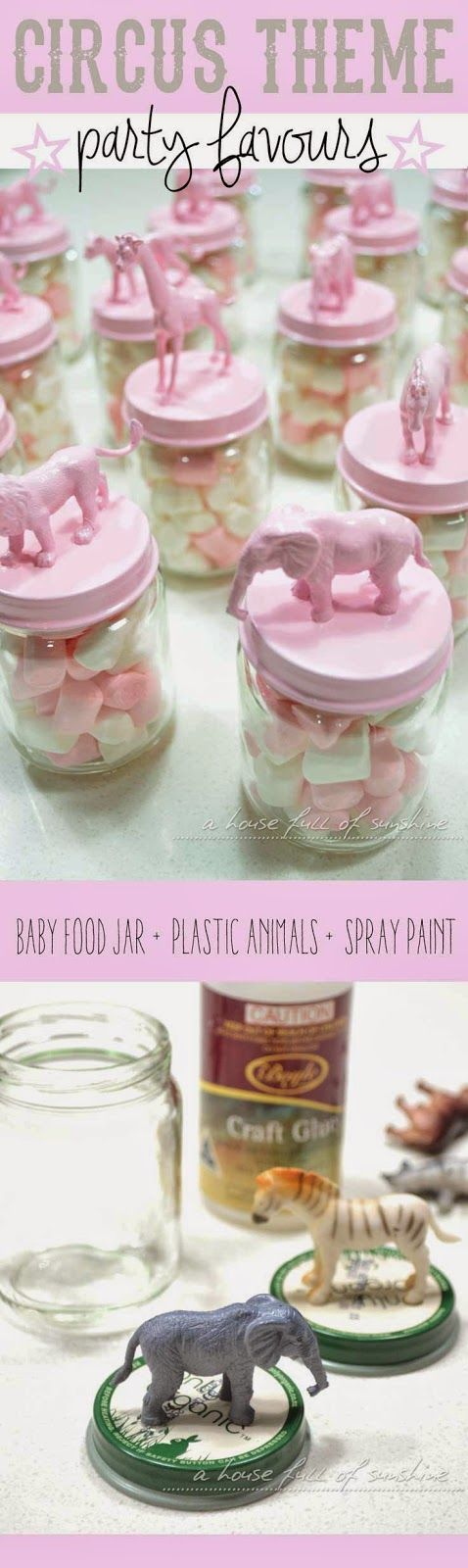 Cute idea for a child's party - circus theme party favours! So simple and effective!  Pegar animalitos de plastico en la tapa del frasco, y luego pintar la tapa del color que desean.