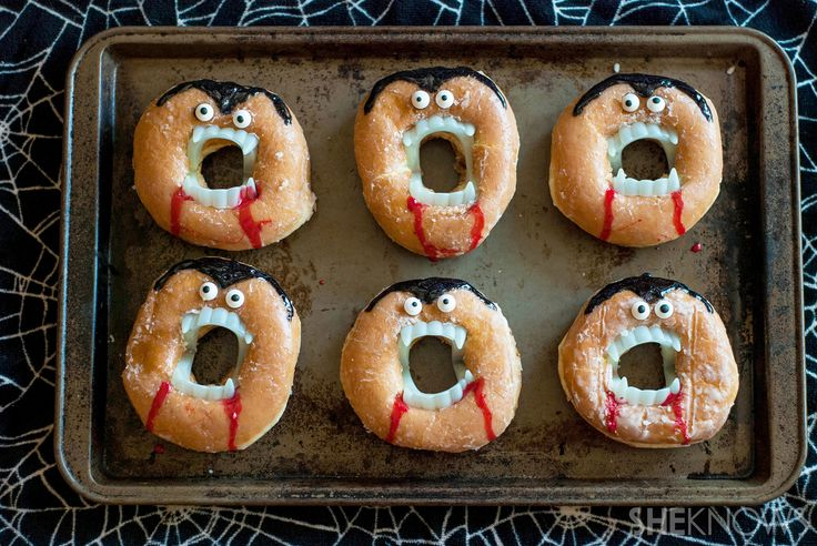 Creepy vampire doughnuts recipe-12 pairs plastic fake vampire teeth 1 dozen doughnuts (I used glazed doughnuts) 24 mini candy eyes (or white and black decorating gel) Red decorating gel