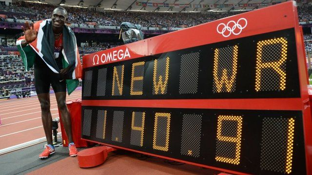 23 year old David Rudisha of Kenya became the first athlete to set a new world record on the track at London 2012 as he won 800m gold.