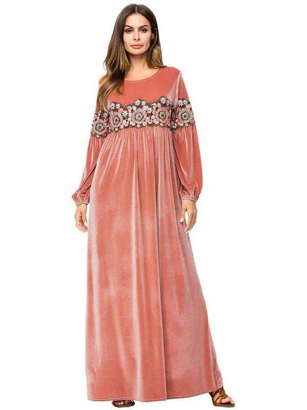 97b88a60e8 Women's Plus Size Embroidered Maxi Velvet Dress in 2019 | velvet ...