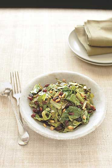 Sautéed Greens With Pine Nuts And Raisins Recipe — Dishmaps