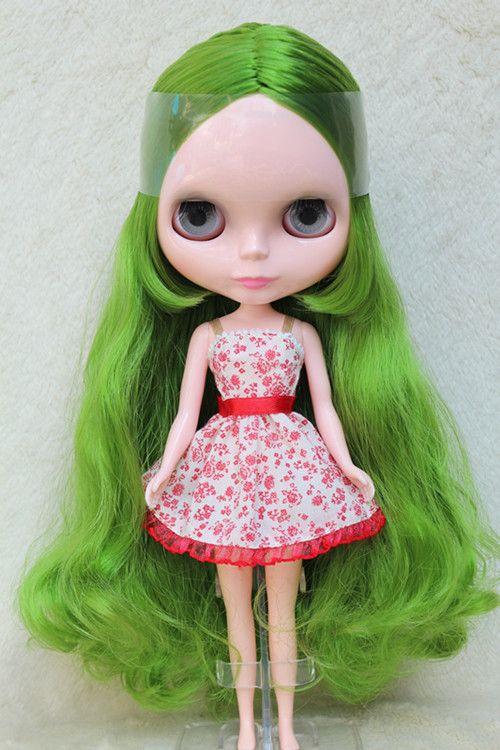 Blygirl Блит кукла трава зеленая вьющиеся волосы 30 см обычные тела обнаженной куклы DIY для своих собственных макияж может использоваться с телокупить в магазине Blygirl StoreнаAliExpress