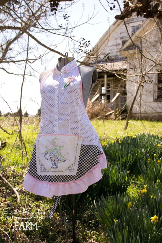 Sweet Magnolias Farm Original... Vintage Girl Apron  Shabby Farmhouse Chic ...is the Best Way to describe this Custom One of a Kind Apron by Sweet Magnolias Farm.  This Charming Shirt Apron .. has been fashioned by our hands here at the farmhouse. We love designing one of a kind pieces .. This sweet and Oh so Charming apron has been fashioned from a darling white with black polkadots Blouse .. A Black diagonal Gingham cotton bottom embellished with a vintage Embroidered linen that has the…