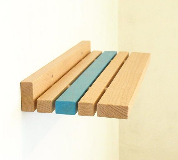 Wood Shelf  Split style floating wall shelf  light by MustHaveRo