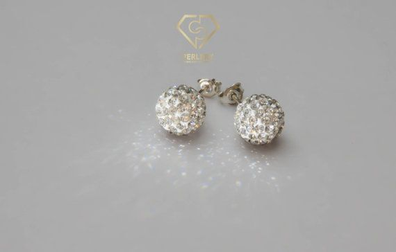Swarovski Earrings Swarovski Crystal Ball Stud Earrings by Perlery