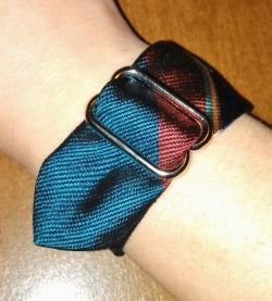 I really like all of the tutorials and pictures online for cuff bracelet designs using upcycled neckties. This is my own design! I wanted to add...