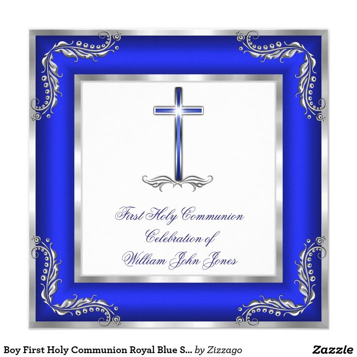 Boy First Holy Communion Royal Blue Silver White Invitation