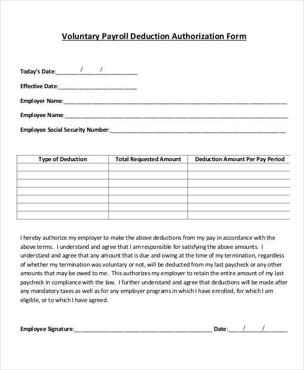 Payroll Deduction Form Payroll