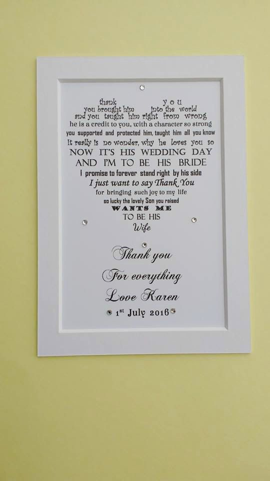 Mother Of The Groom Gift From Bride In Law Wedding Pas For Poem Print
