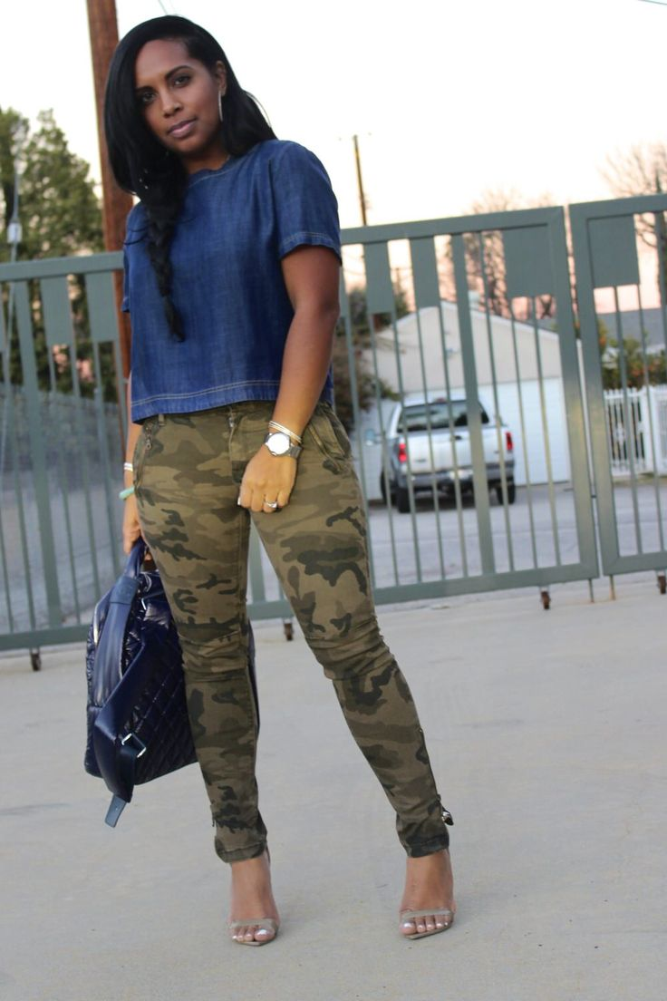 denim top with camouflage pants | Major Must Haves