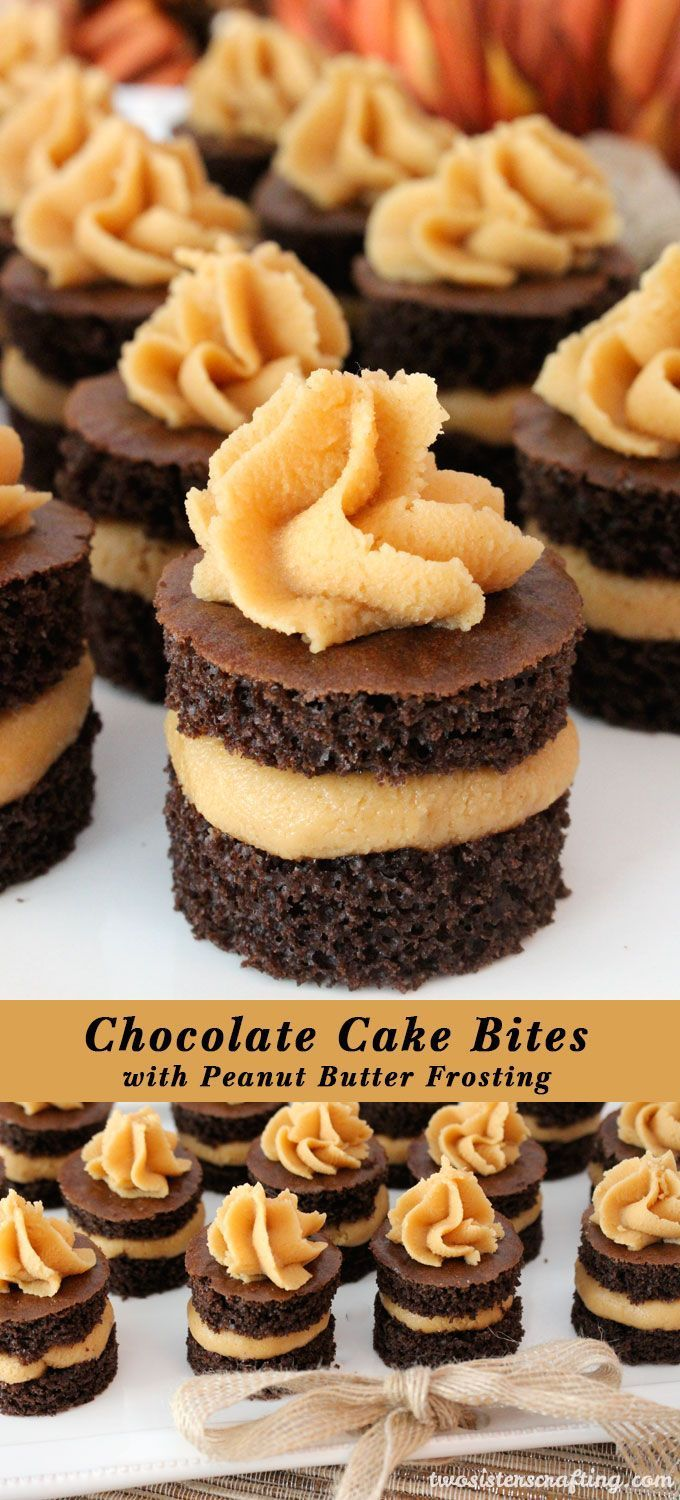 Chocolate Cake Bites with Peanut Butter Frosting - fun mini cakes with the most delicious Peanut Butter Frosting you have ever tasted. A great dessert idea and a unique take on a cupcake. Super easy to make, they will be a big hit on your Thanksgiving dessert table or your Christmas Dessert exchange. Follow us for more Thanksgiving and Christmas food ideas.