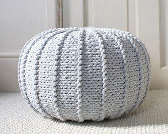 Large light grey floorpouf knitted pouf knit pouf by ZuriHouse