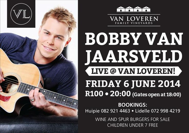 Bobby van Jaarsveld will be performing on 6 June, during this year's #WackyWine! Book your tickets now!