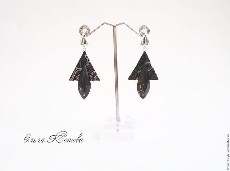 Купить Черные серьги с натуральными камнями Восточные сказки геометрия - черный, черный цвет