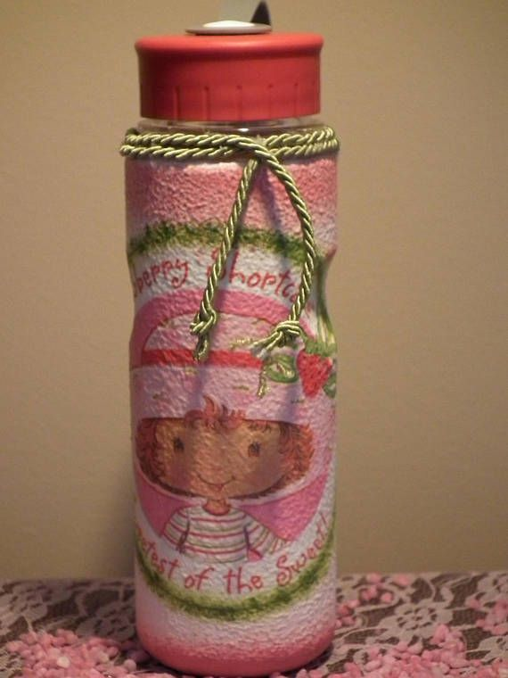Strawberry shortcake decor decoupage plastic flask for child
