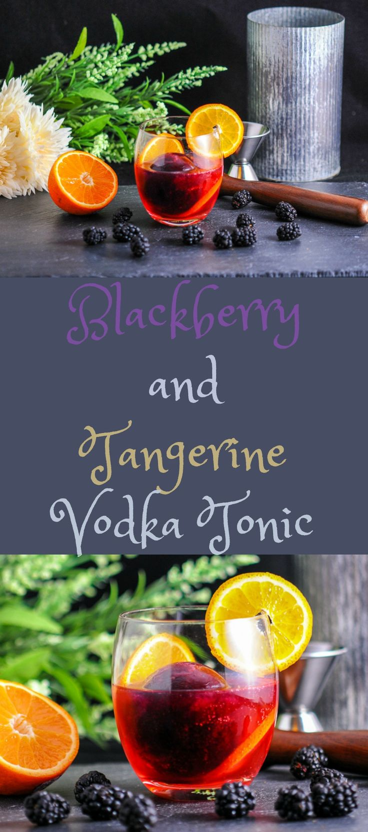 Blackberry and Tangerine Vodka Tonic cocktail - blackberry syrup iceball  #cocktail #blackberry #vodka #summer