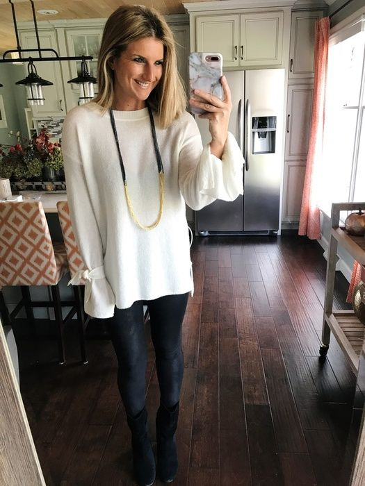 How To Wear Faux Leather Leggings With A Tunic Sweater Outfit