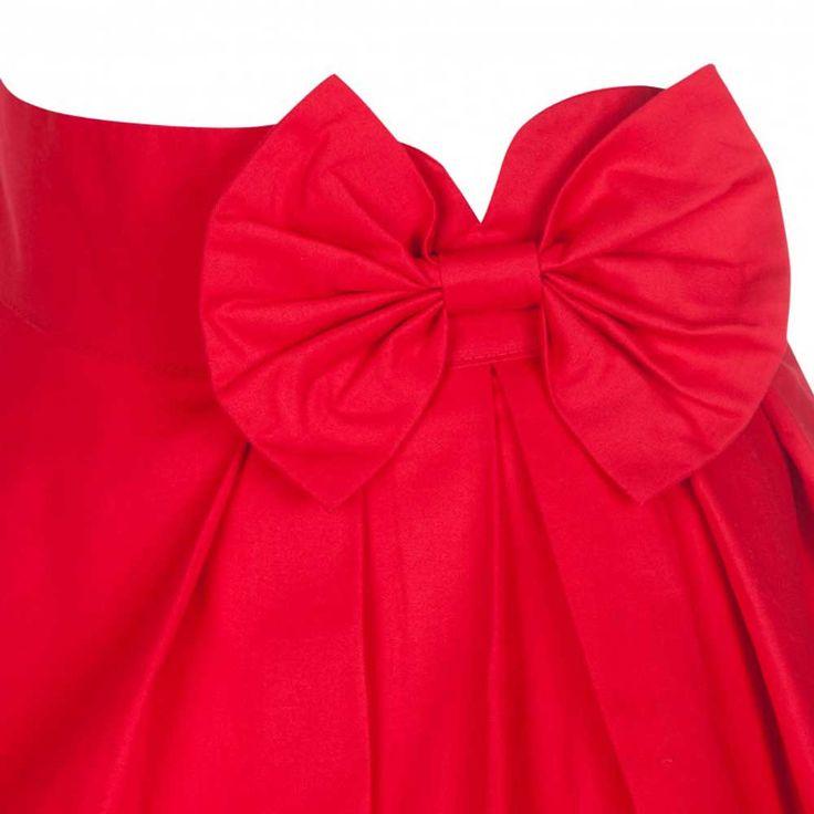 Noreen wijde rok met strik rood - Vintag