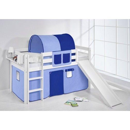 Hochbett mit Rutsche weiß - JELLE #hochbett #lilokids #blau #kinder #kinderbett