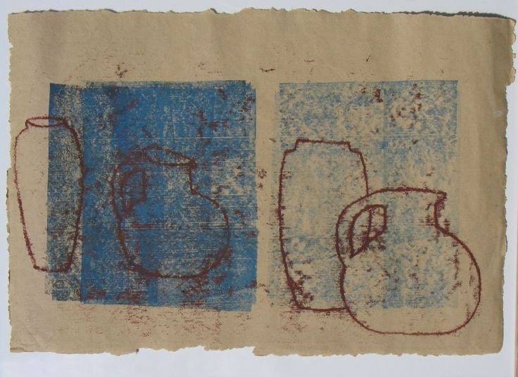 Terracotta  mixed media and monotype on himalayan paper (sold)