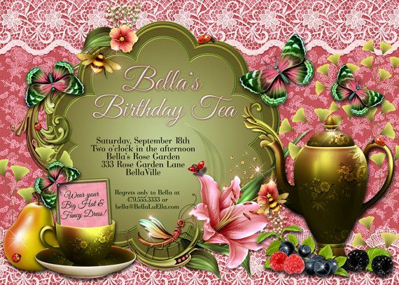 Tea Party Invitation Birthday Tea Party Bridal Tea by BellaLuElla, $13.00