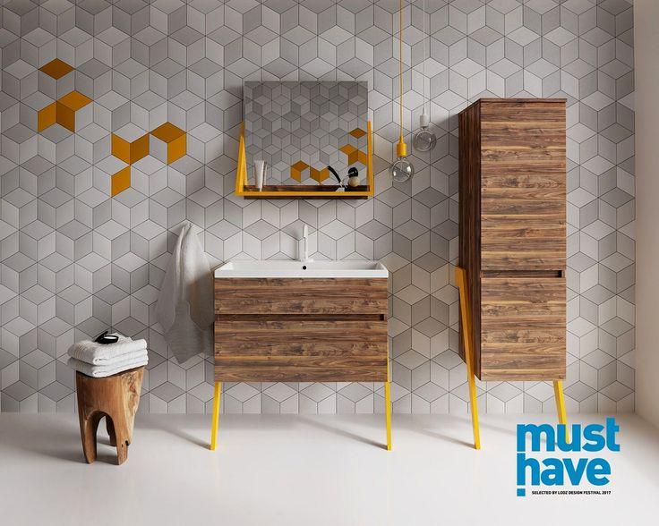 Zestaw mebli łazienkowych OP-Arty produkcji Deftrans dekor orzech saleve + lakier czarny mat