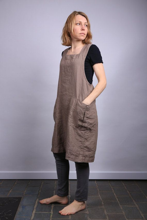 Pinafore / Linen Square-Cross Apron / No-ties Apron / Japanese style Apron / pinafore pattern
