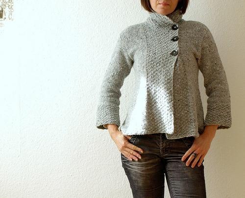 103-1 Jacket in Eskimo or Silke-Alpaca with A-shape by DROPS design, free pattern on Ravelry
